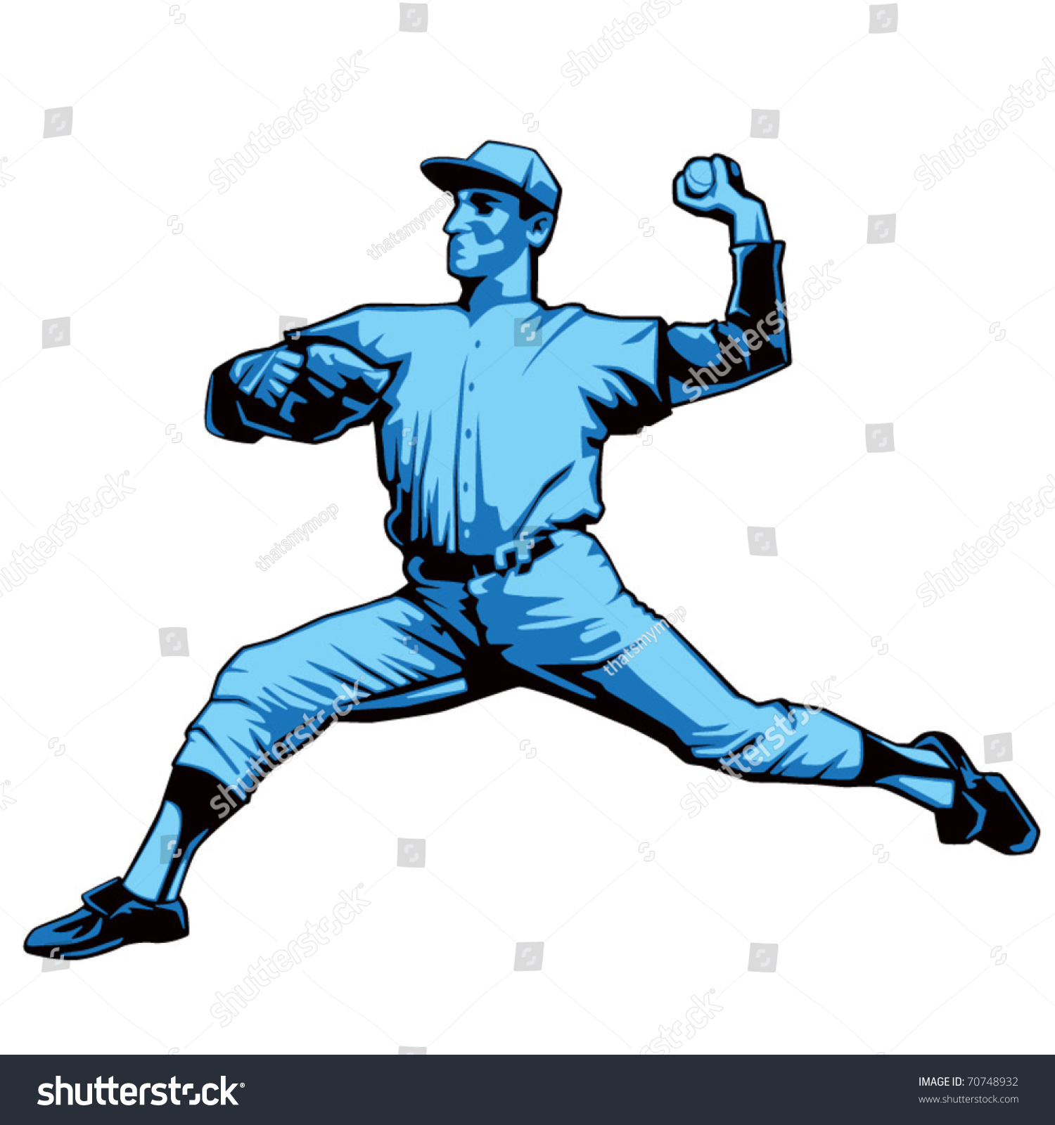 Baseball Pitcher Left Handed Stock Vector (Royalty Free) 70748932.