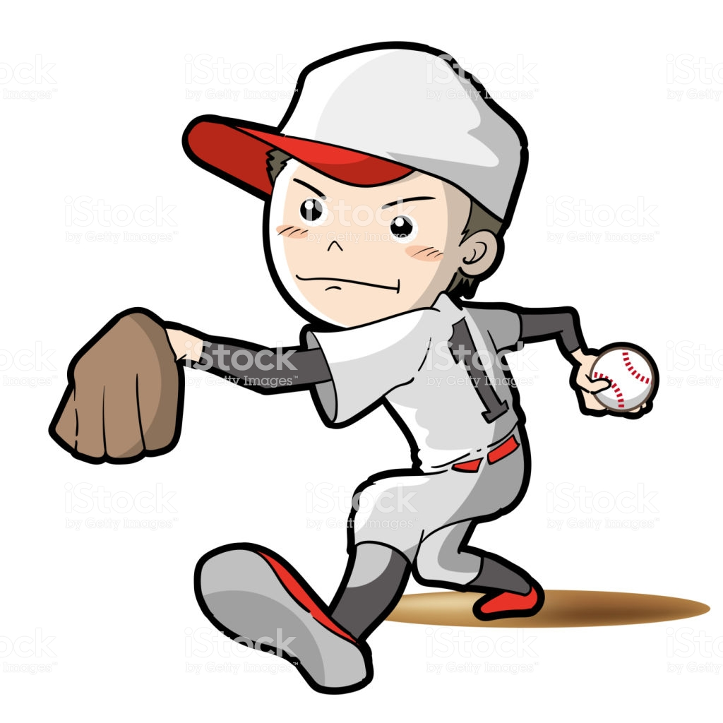 Baseball Pitcher Pose Stock Illustration.
