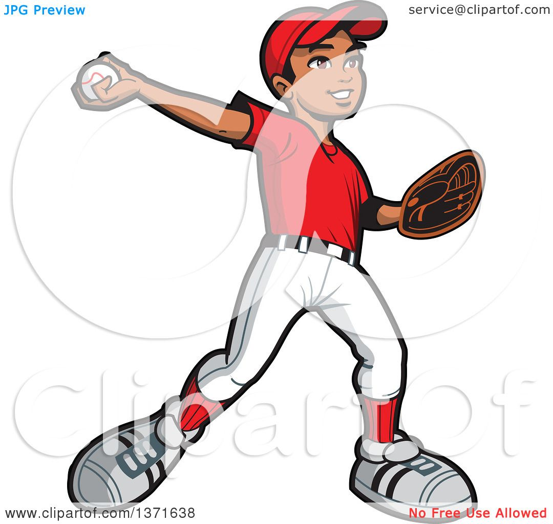 Clipart Of A Black Baseball Player Boy Pitching.
