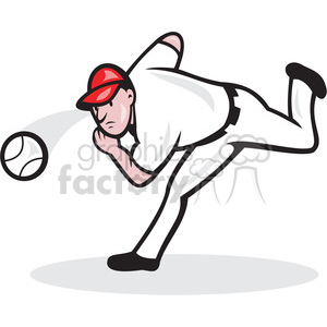 baseball player pitching a ball clipart. Royalty.