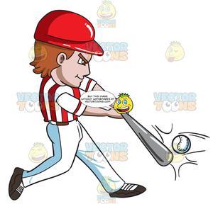 A Baseball Player Hitting A Ball With A Bat.