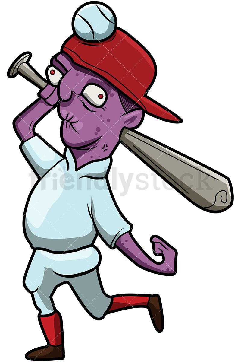 Funny Baseball Player Zombie With A Bat And No Teeth.