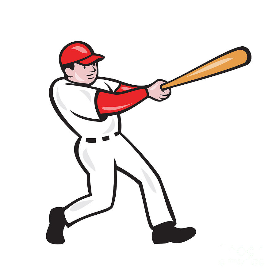 Baseball Player Batting Isolated Cartoon by Aloysius Patrimonio.