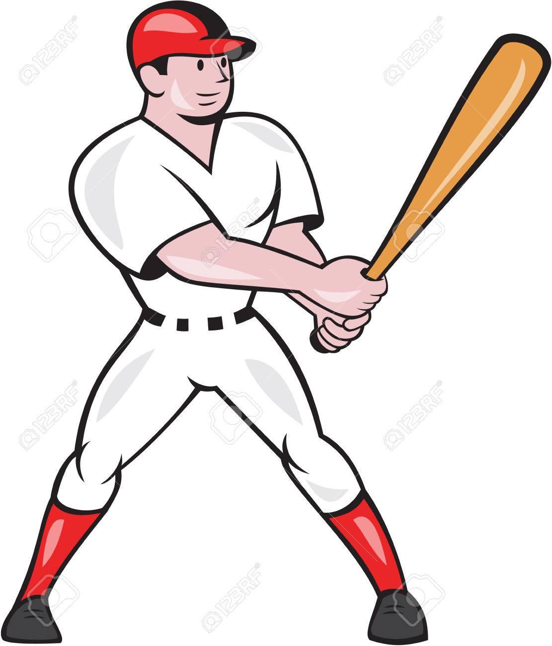 Illustration of an american baseball player batter hitter batting...
