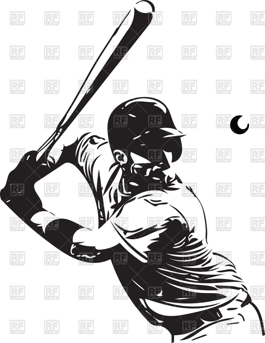 Baseball player with baseball bat Stock Vector Image.