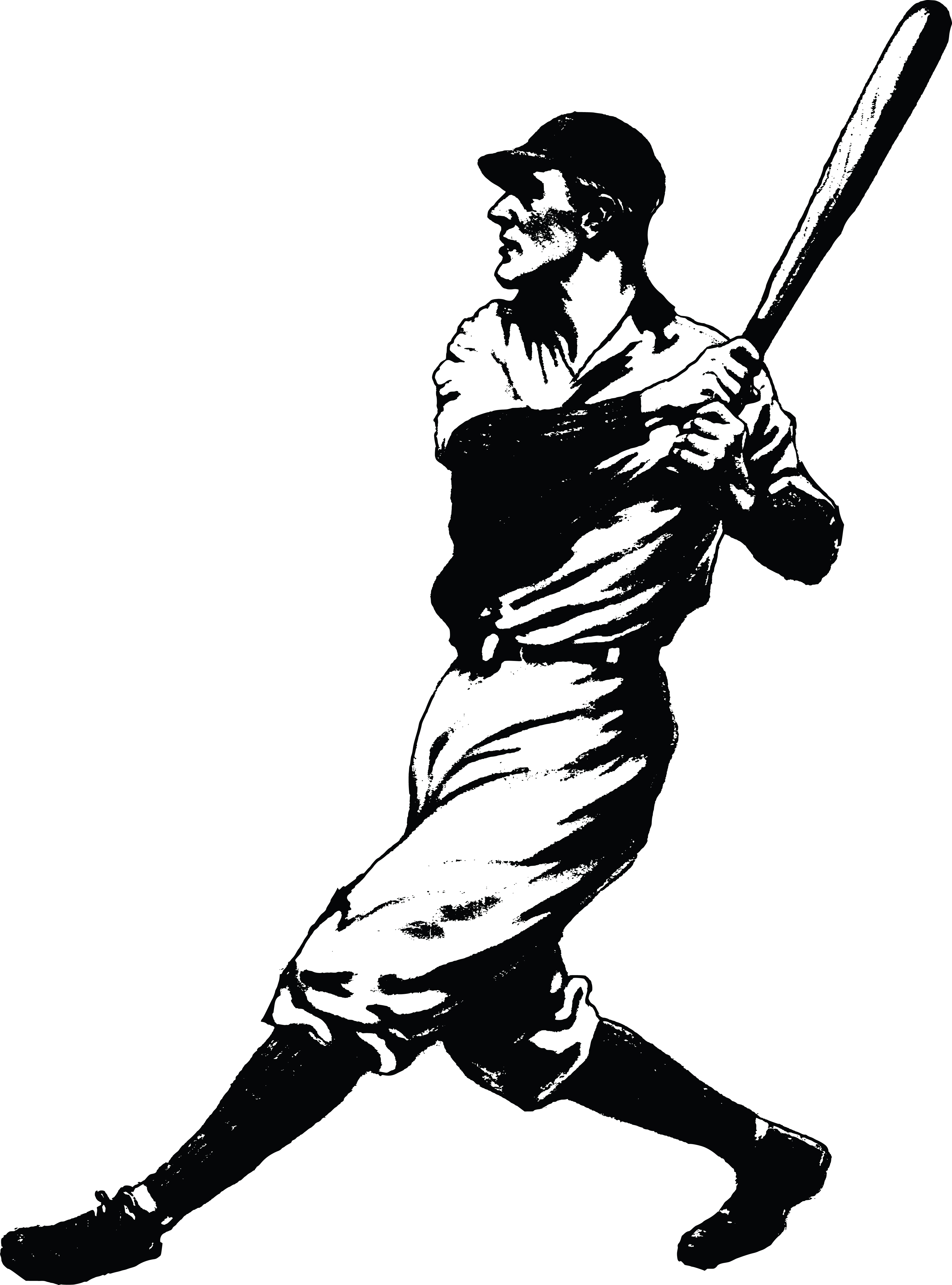 Free Clipart Of a baseball player batting.