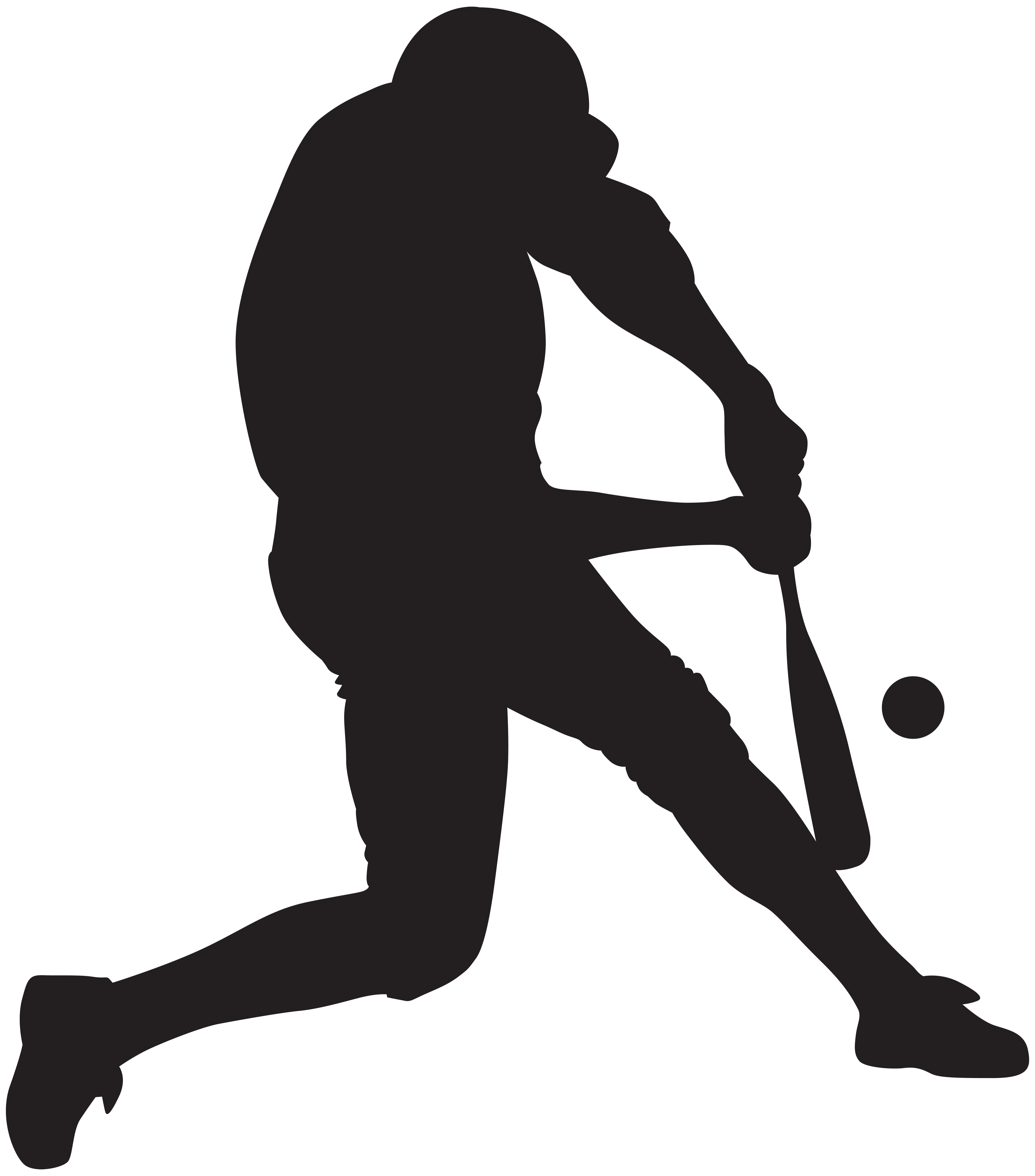Baseball Player Silhouette PNG Clip Art Image.