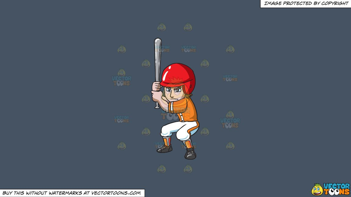 Clipart: A Baseball Player Getting Ready To Hit A Ball on a Solid Metal  Grey 465362 Background.