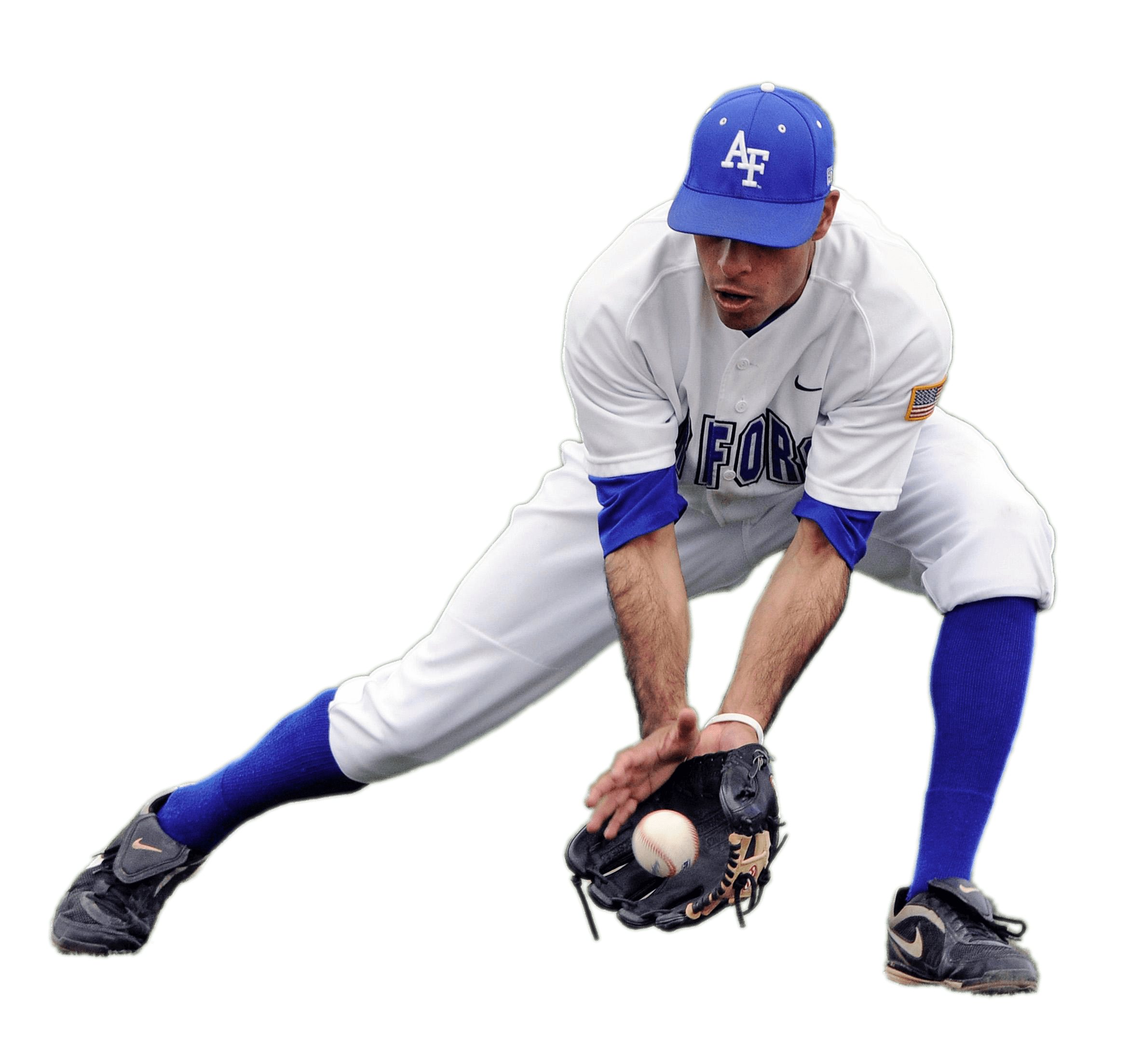 Baseball Player Catching Low Ball transparent PNG.