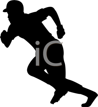 Royalty Free Clipart Image of a Baseball Player Running #1839.