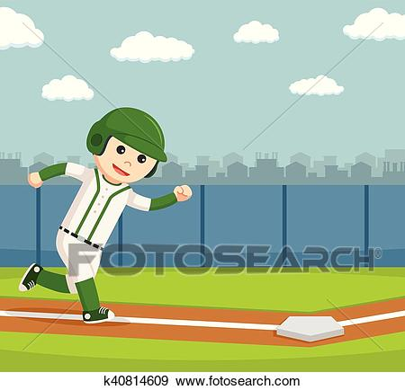 Baseball player running to the safe Clip Art.