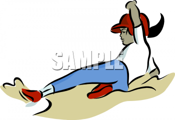 Color Clipart Picture of a Young Baseball Player Sliding Into a Base.