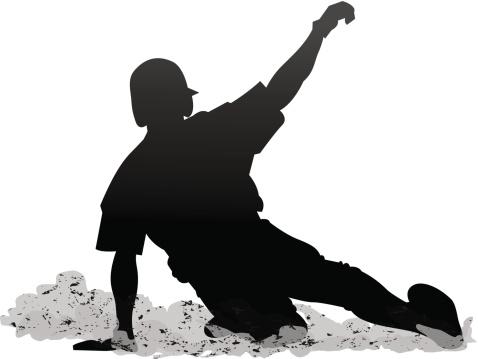 Baseball player sliding silhouette clipart.