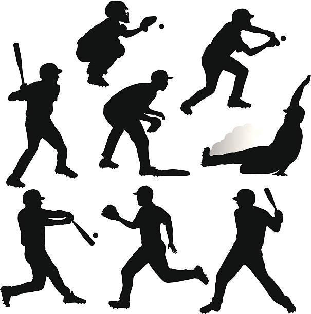 Sliding Baseball Illustrations, Royalty.