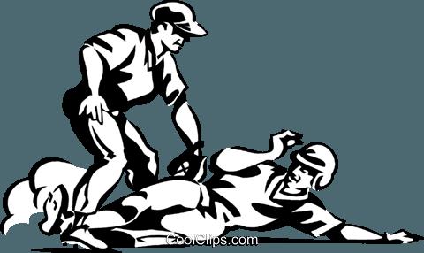 Baseball player sliding into base Royalty Free Vector Clip Art.