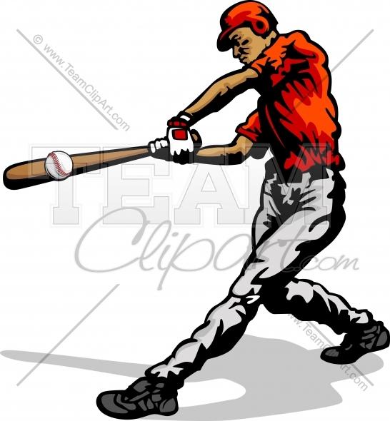 Baseball Player Swinging Bat Clipart Image..