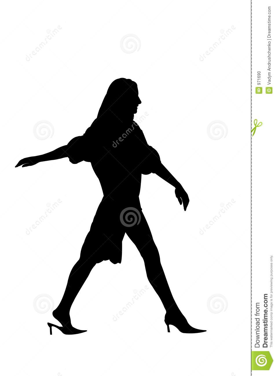 Silhouette Of A Woman Walking Away.