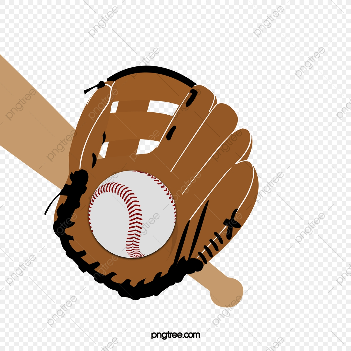 Baseball Creative Three Piece, Baseball Clipart, Wooden Baseball Bat.