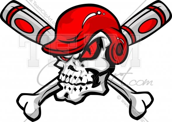 Softball Baseball Skull and Bats Cartoon Image.