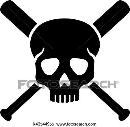 Skull with crossed baseball bats Clipart.