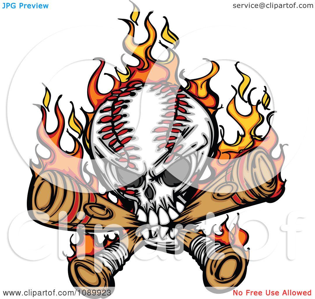 Clipart Flaming Baseball Skull Biting Bats.