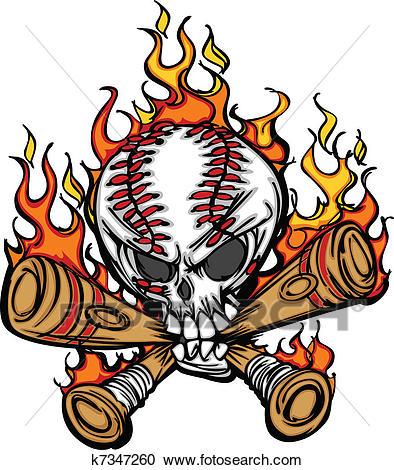 Softball Baseball Skull and Bats Fl Clipart.