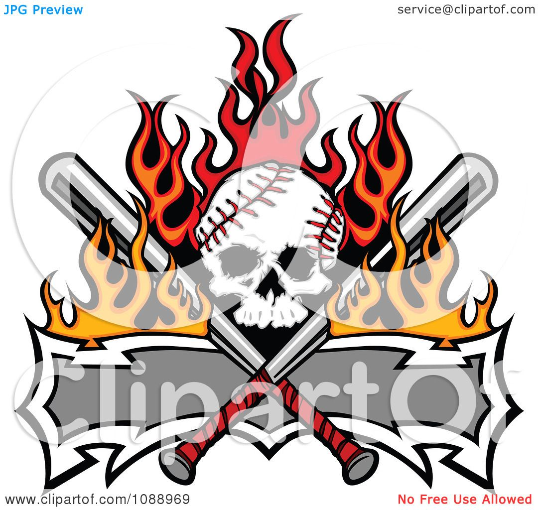 Clipart Fiery Baseball Skull With Crossed Bats And A Banner.