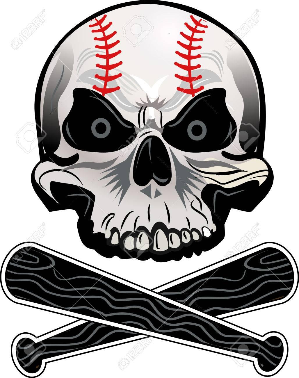 Baseball skull ball and bat.