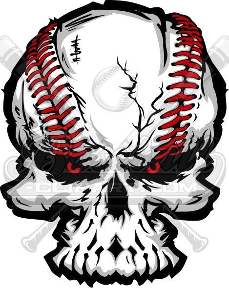 Baseball Skull Vector Art Vector Graphic.