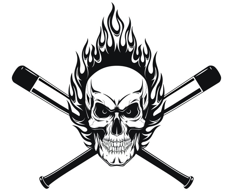 Baseball skull SVG, Skull SVG, Baseball, Skull clipart, Skull  illustrations, Silhouette, SVG, Graphics, Illustration, Logo, Clipart.