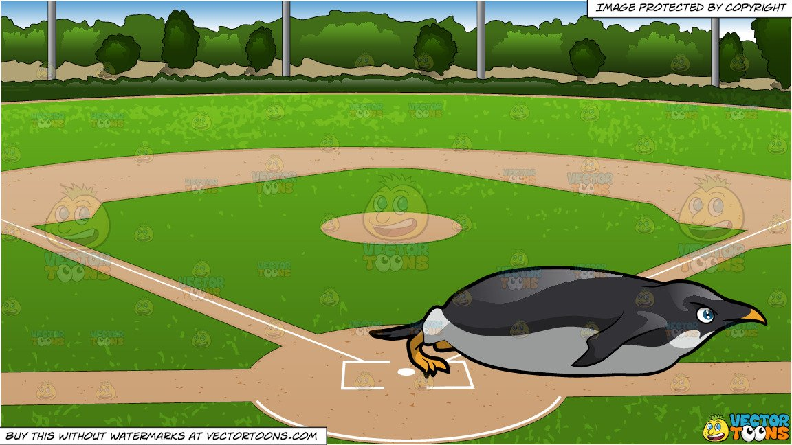 A Penguin In Focus While Sliding and Baseball Diamond Background.