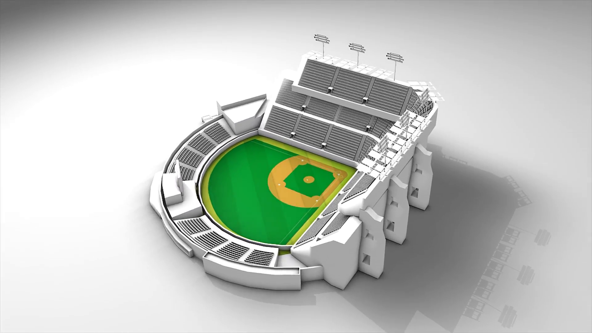 Baseball stadium, 360 view animation..