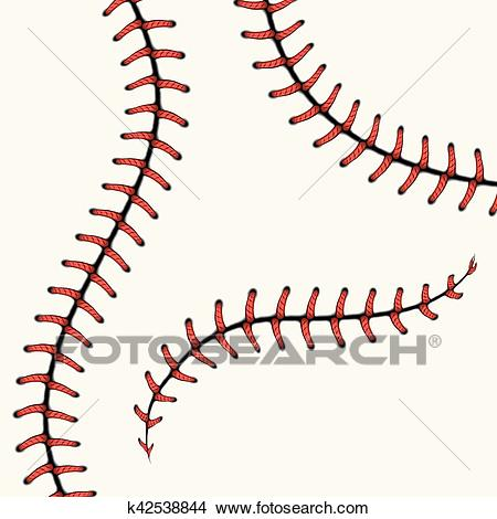 Baseball stitches, softball laces isolated on white. vector set. Clipart.