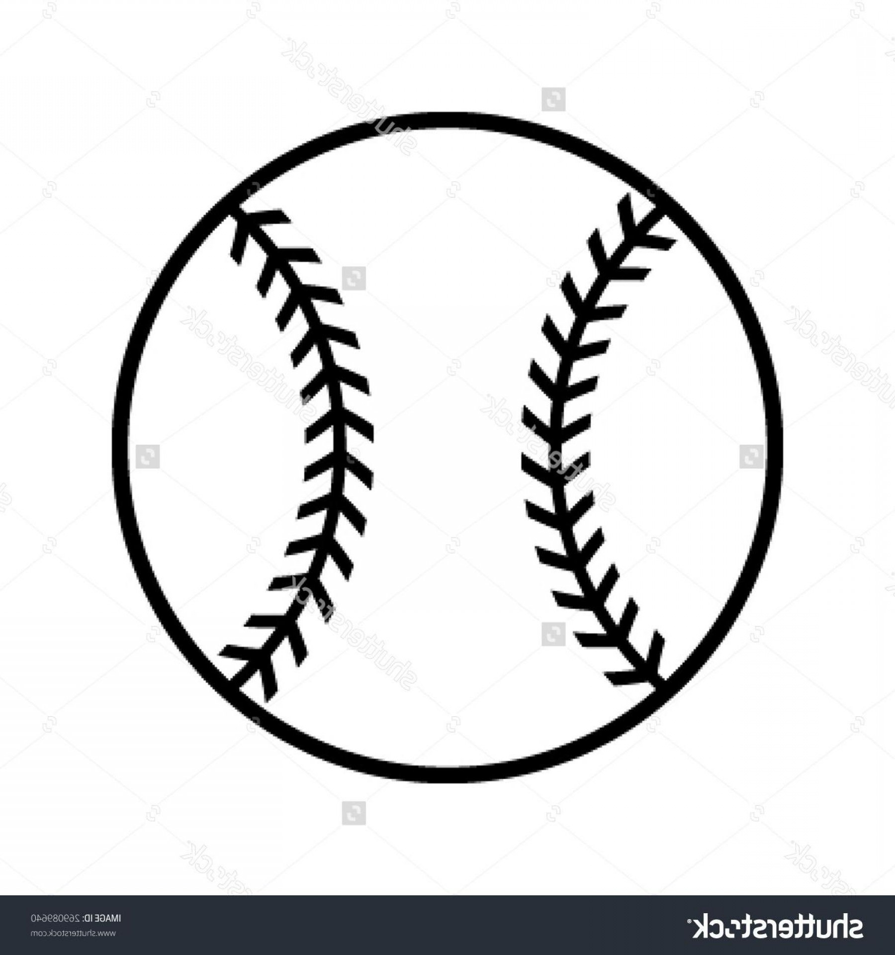Stock Vector Simple Black Baseball With Stitches Icon.