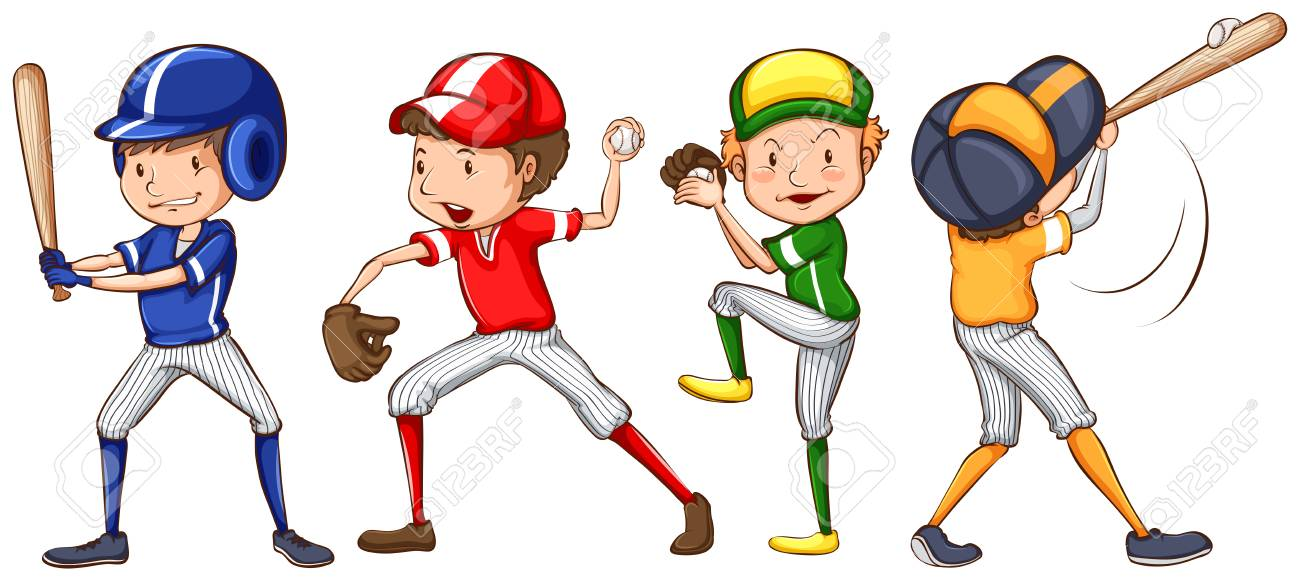 Illustration of a baseball team.