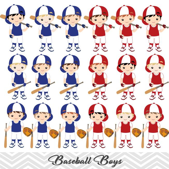 Boys Baseball Digital Clip Art, Sport Boys Baseball Team Clipart, 00254.