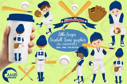 Baseball clipart, Yankee Blue clipart, Baseball Team clipart, vector  graphics, digital images, AMB.