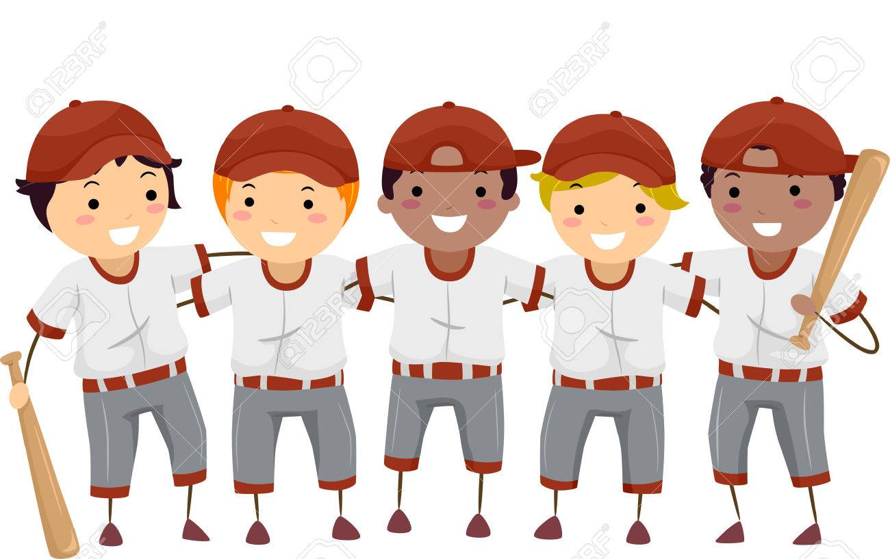 Illustration Featuring a Team of Baseball Players.