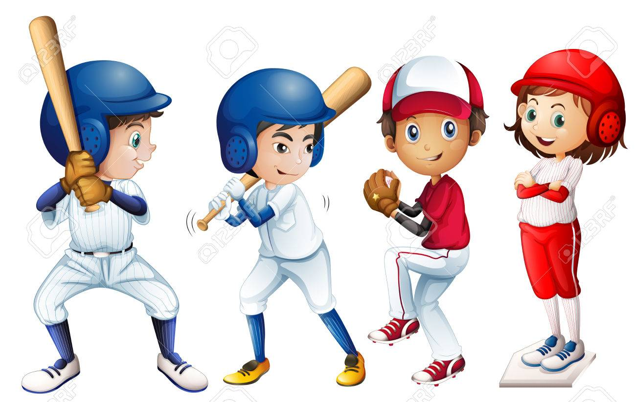 Illustration of a team of baseball.