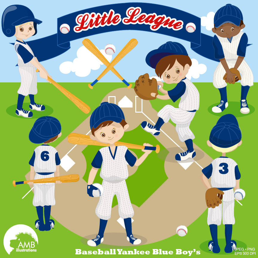 Baseball clipart, Yankee Blue clipart, Baseball Team clipart, Commercial  use, vector graphics, digital images, AMB.