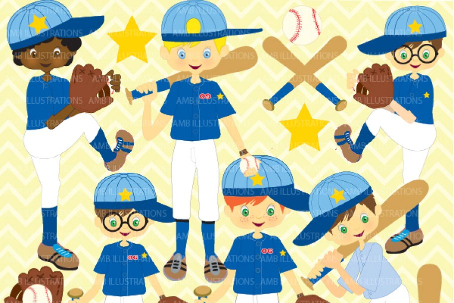 Boys Baseball Team Clipart AMB.