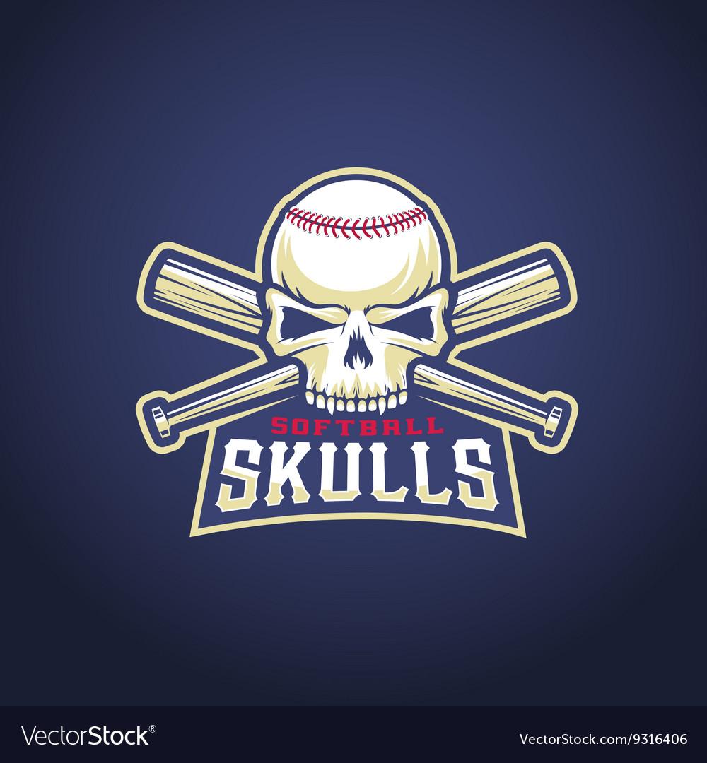 Baseball Team Logo Template Skull and Crossed.