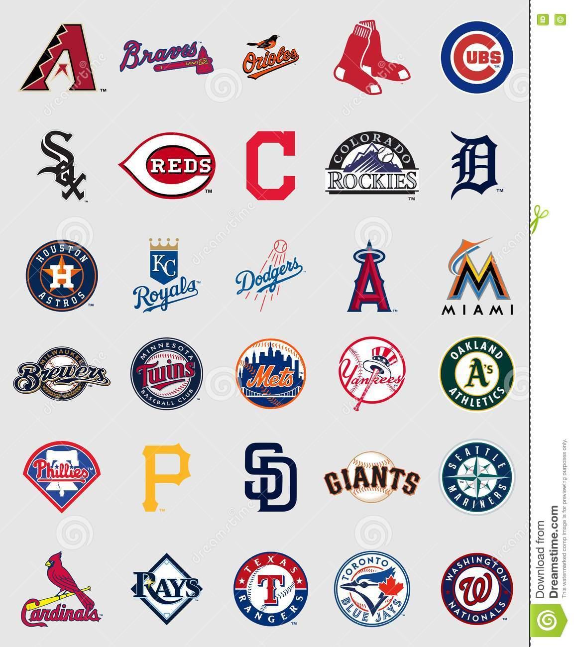 Major League Baseball Logos Editorial Stock Photo.