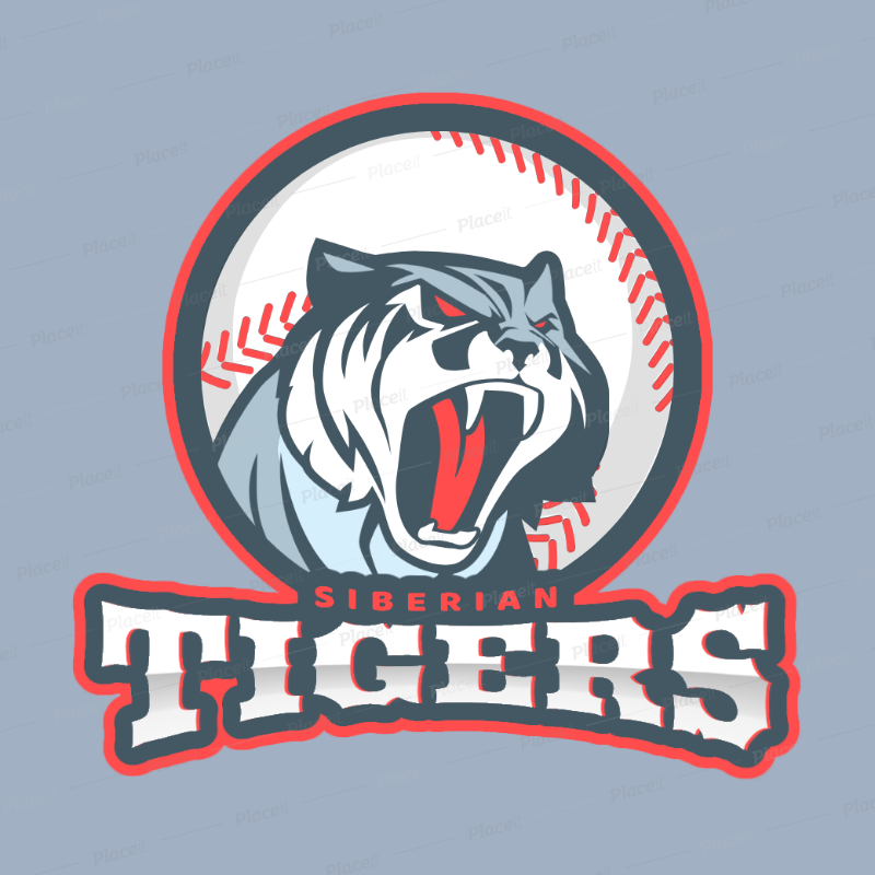 Logo Maker for a Baseball Team with Tiger Clipart 172e.