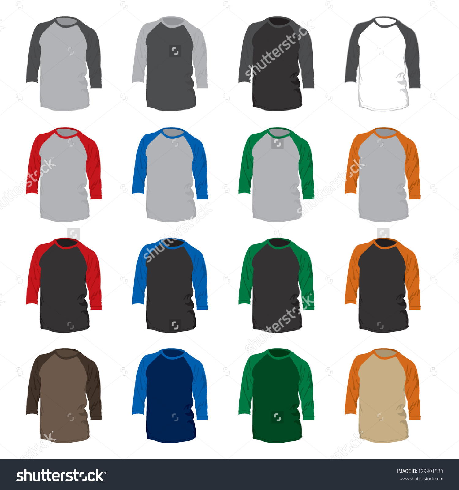 Vector Set 16 Different Colored Baseball Stock Vector 129901580.