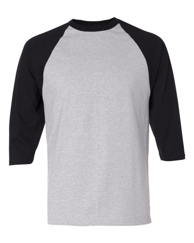 Like it ! Anvil Heather Grey And Black 3/4 Sleeve Raglan Baseball.