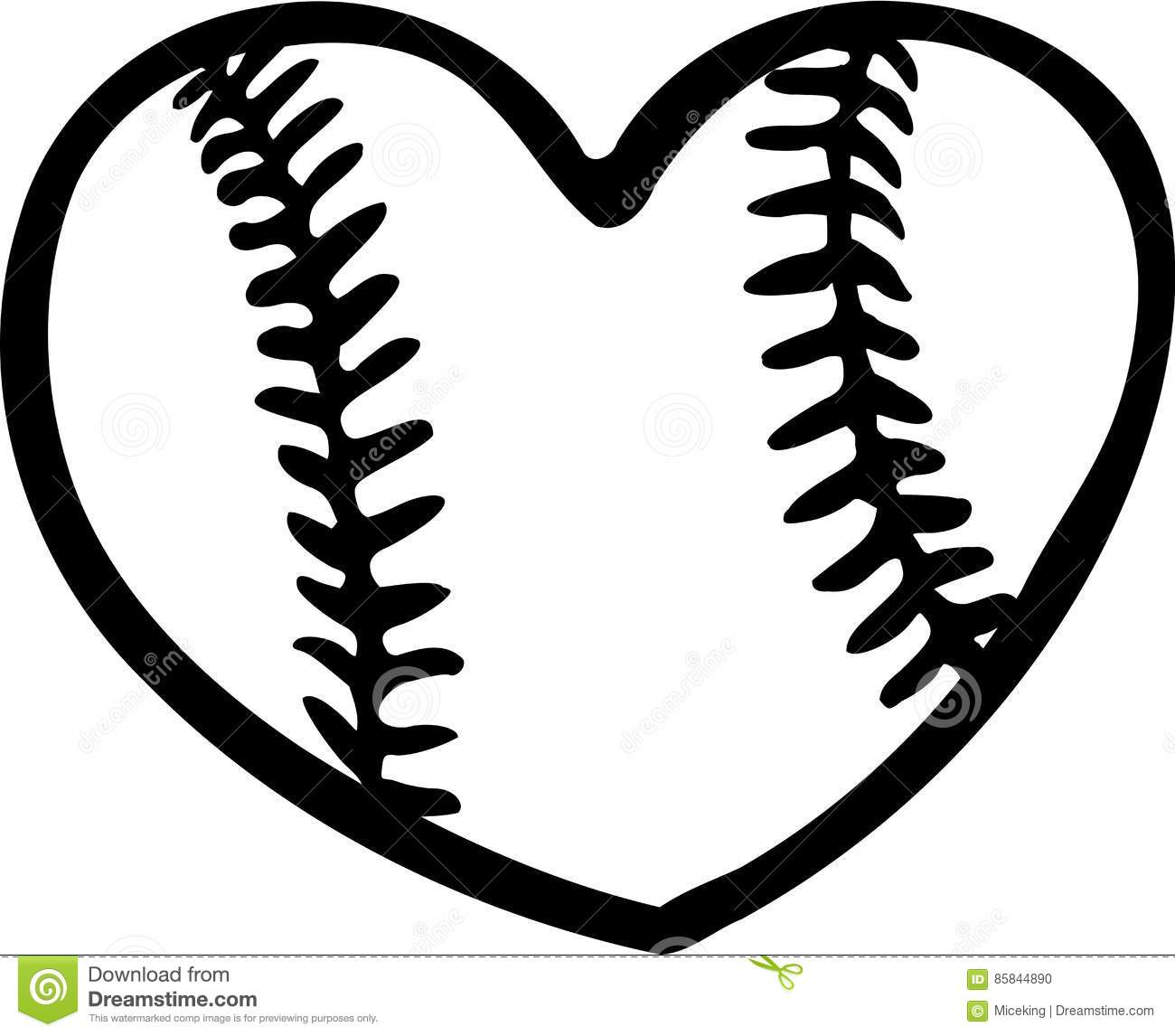 Heart With Baseball Stitches Clipart.
