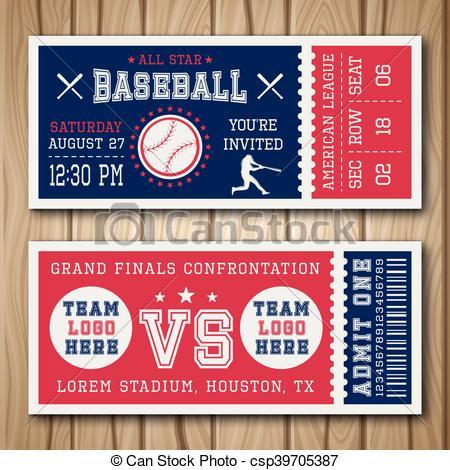 Baseball Blue Red Tickets.