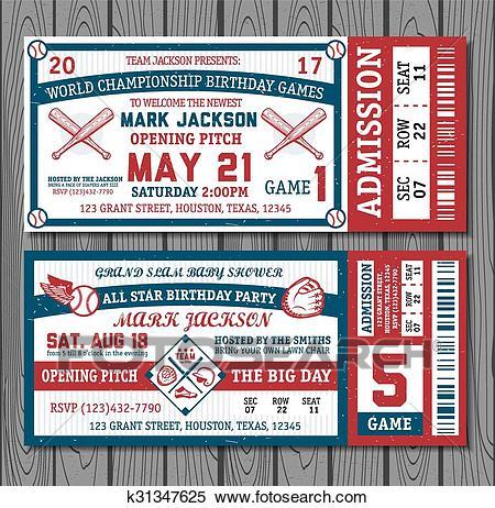 Set of vintage baseball tickets Clipart.