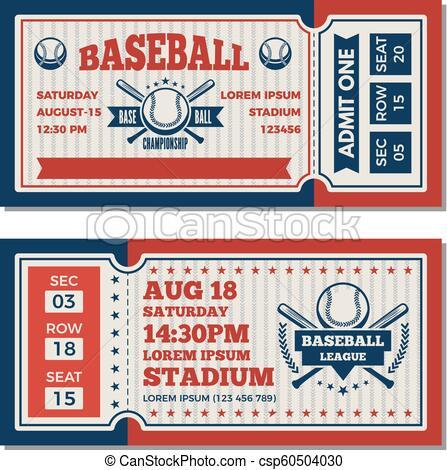Tickets design template at baseball tournament.
